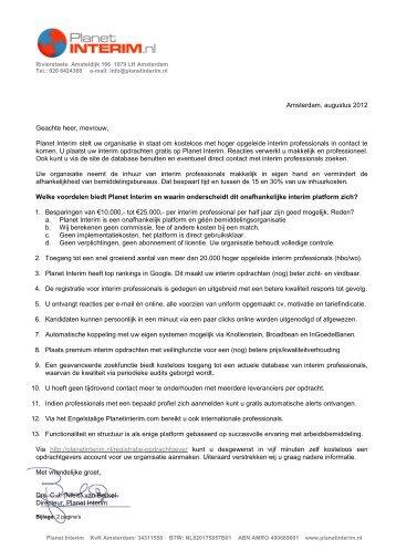 Amsterdam, augustus 2012 Geachte heer, mevrouw, Planet Interim ...