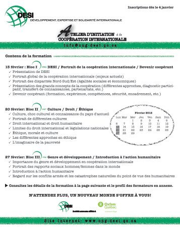 Atelier d'initiation à la coopération internationale ( PDF ... - AQOCI