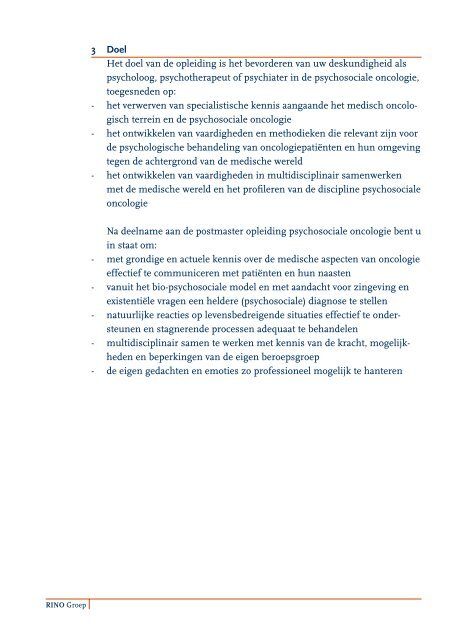Psychosociale Oncologie - RINO Groep
