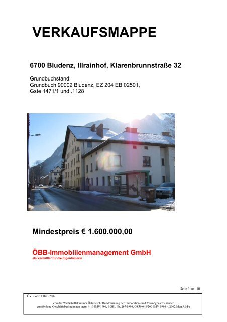 form 1065 13k  VERKAUFSMAPPE 10 Bludenz, Illrainhof, Klarenbrunnstraße 10