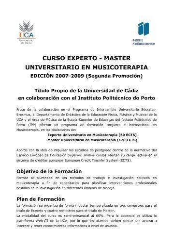 CURSO EXPERTO - MASTER UNIVERSITARIO EN MUSICOTERAPIA