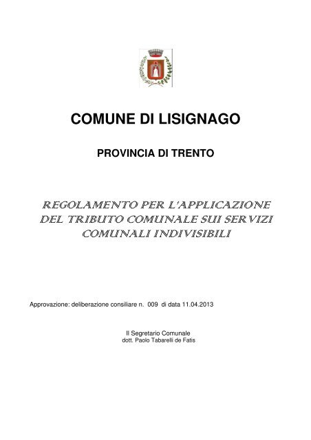 Regolamento TARES - Comune di Lisignago