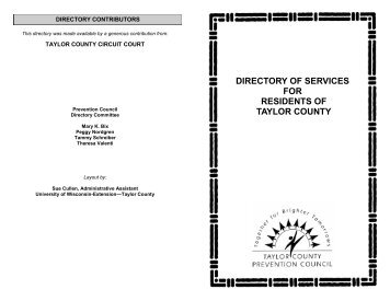 DIRECTORY OF SERVICES FOR RESIDENTS OF TAYLOR COUNTY