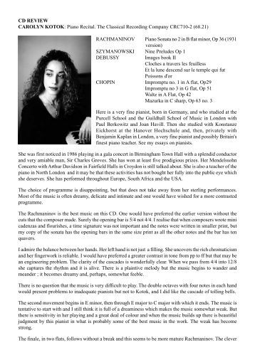 CD Review 6 - Carolyn Kotok: Piano Recital - Dr David Wright