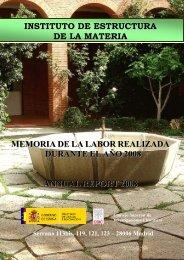 memoria de 2008 - Instituto de Estructura de la Materia - Consejo ...