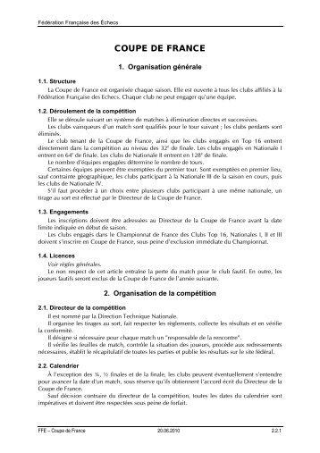 COUPE DE FRANCE - Fédération Française des Échecs