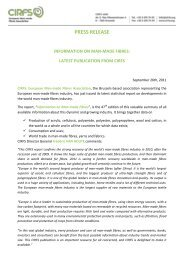 press release information on man-made fibres: latest publication ...