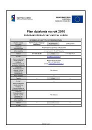 Plan działania na rok 2010 - Kapitał Ludzki - Wojewódzki Urząd ...