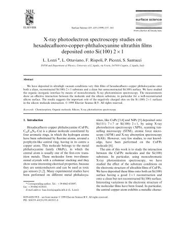 X-ray photoelectron spectroscopy studies on hexadecafluoro ... - Infn