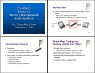 CS 406-01 Lecture 2 Memory Management: Early Systems