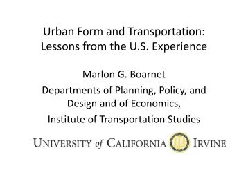 VMT and Land Use: Preliminary Results from the Southern ...