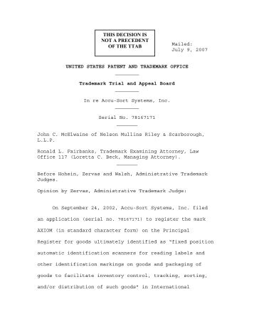 July 9, 2007 UNITED STATES PATENT AND TRADEMARK OFFICE