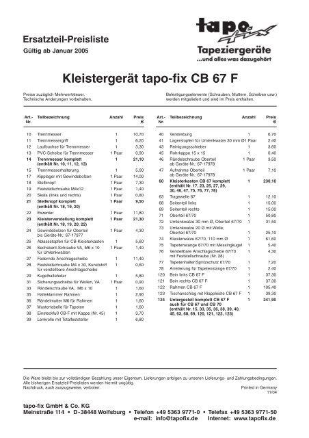 46 Rändelschraube Oberteil Tapofix Ersatzteil Nr