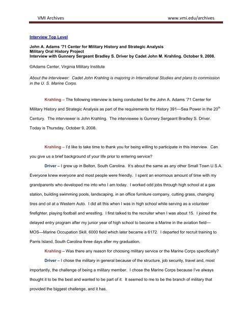Gysgt Bradley Driver Interview Transcript U S Marine Corps Oral