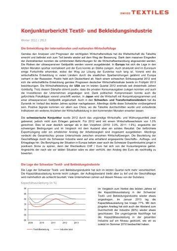 Konjunkturbericht Textil- und Bekleidungsindustrie