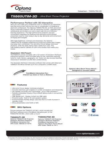 TX665UTiM-3D − Ultra Short Throw Projector - Optoma