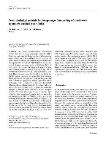 New statistical models for long-range forecasting of ... - (IMD), Pune