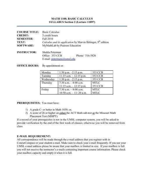 Math 1100, Basic Calculus - UMSL : Mathematics and Computer