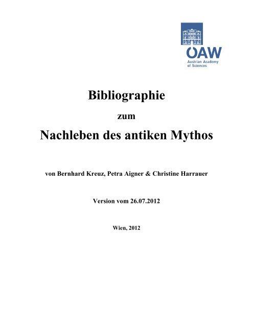 Bibliographie zum Nachleben des antiken Mythos - Department of ...
