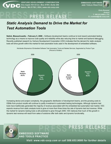 Static Analysis Demand to Drive the Market for Test ... - VDC Research