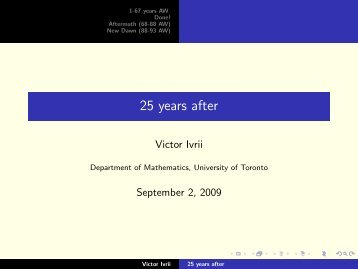 25 years after - Victor Ivrii - University of Toronto