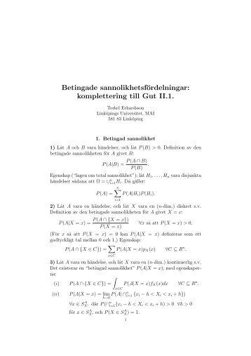 Betingade sannolikhetsfördelningar - Linköpings universitet