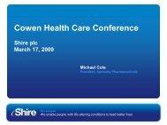 Cowen Health Care Conference - Shire