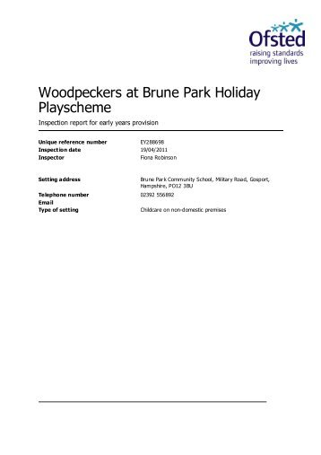 Woodpeckers at Brune Park Holiday Playscheme - Ofsted