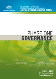 Phase One: Governance - Issues Paper - Super System Review