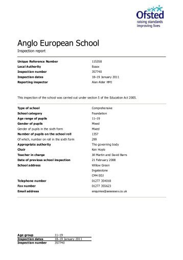 Anglo European School - Ofsted