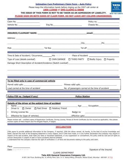 Tata Aig claim form pdf - Windshield Experts