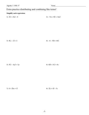 CLASSWORK - Combining Like Terms & Distributive Property