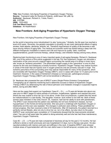 New Frontiers: Anti-Aging Properties of Hyperbaric Oxygen Therapy