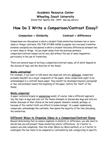 how to write compare and contrast essay examples
