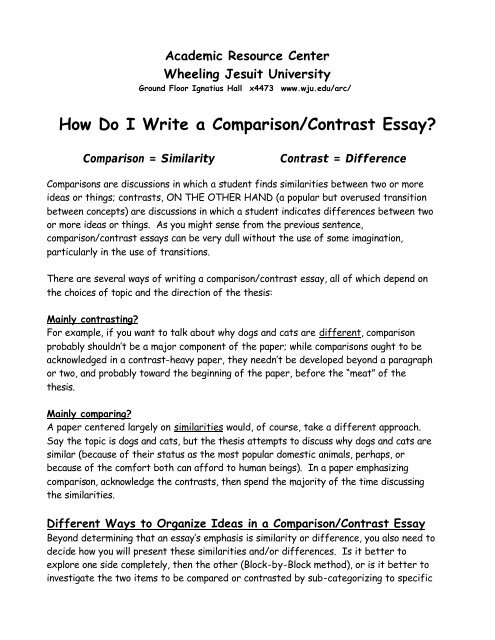 How Do I Write A Comparisoncontrast Essay  Wheeling Jesuit  How Do I Write A Comparisoncontrast Essay  Wheeling Jesuit