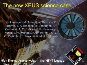 The new XEUS science case - X-ray Astronomy Group at ISAS