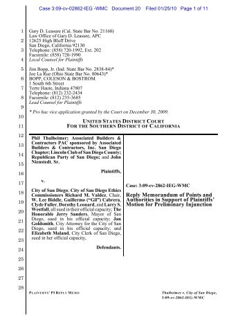 Reply Brief in Support of Motion for Preliminary Injunction