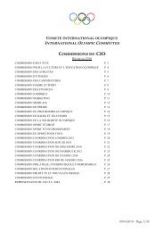 Liste des Commissions 2010 - International Olympic Committee