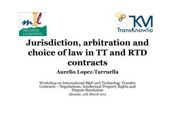 Jurisdiction, arbitration and choice of law in TT and RTD ... - WIPO