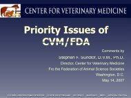 Priority Issues of FDA/CVM - Federation of Animal Science Societies