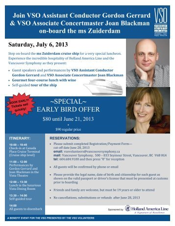 ~SPECIAL~ EARLY BIRD OFFER - Vancouver Symphony Orchestra