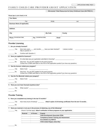 StartUp Family Child Care Provider Grant Application  Mn Trecc