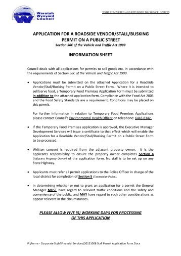 Application for a Roadside Vendor/Stall/Busking Permit on a Public ...
