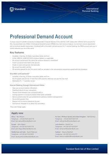 Professional Demand Account - Standard Bank Offshore