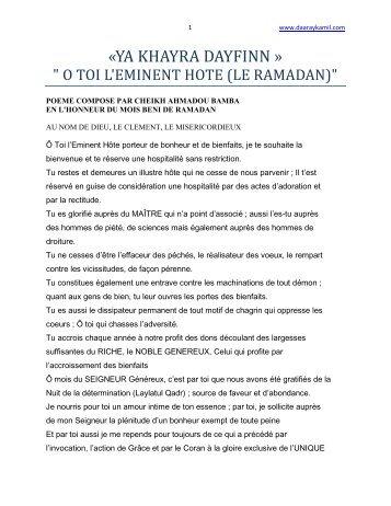 khassida pdf en francais