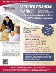 Certified finanCial Planner - North Carolina State University