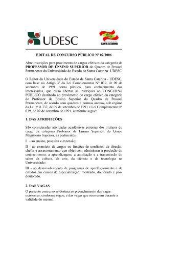 EDITAL CP2-2006 - Udesc
