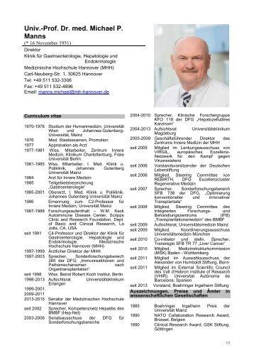 Curriculum vitae von Prof. Dr. med. Michael P. Manns (PDF)