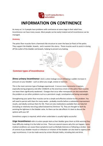CONTINENCE INFORMATION SHEET - Marylebone Physiotherapy