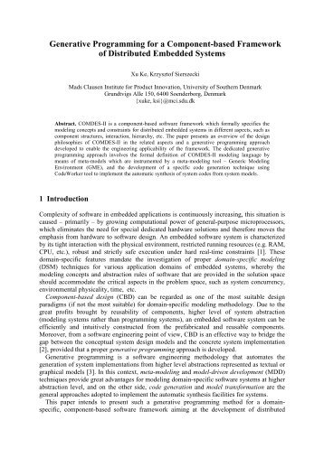 Generative Programming for a Component-based Framework of ...